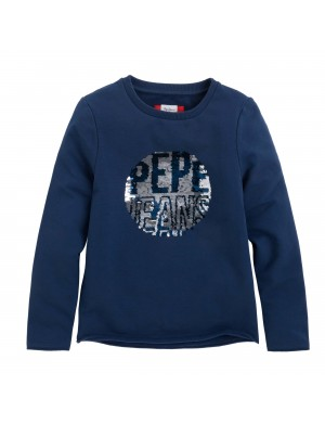 Sweat ras de cou fille bleu