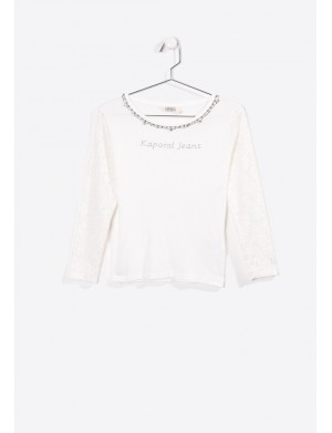 T-shirt manches longues fille blanc