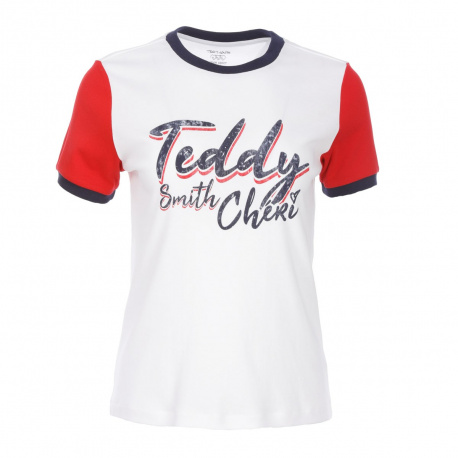 T-shirt manches courtes femme blanc TEDDY SMITH