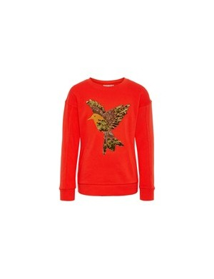Sweat ras de cou fille rouge