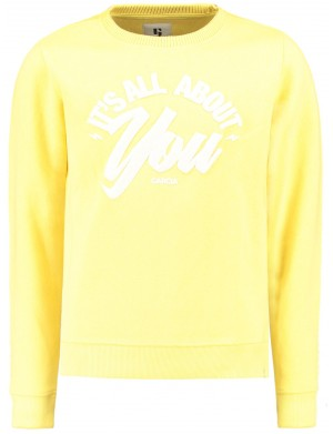 Sweat ras de cou fille jaune