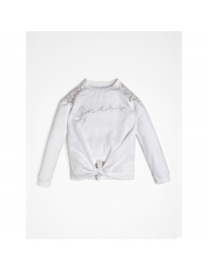 Sweat ras de cou fille blanc