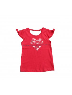 T-shirt manches courtes fille rouge